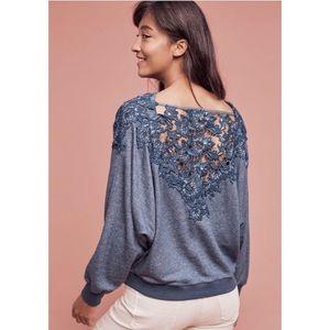 Anthro Meadow Rue Lace Back Sweatshirt Top